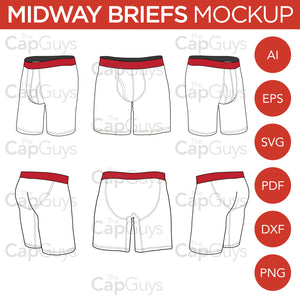 Midway Boxer Briefs - Mockup and Template - 6 Angles, Layered, Detailed and Editable Vector in EPS, SVG, AI, PNG, DXF and PDF