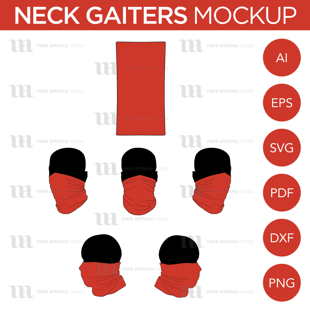 Neck Gaiters - Mockup and Template - 6 Angles, 1 Style, Layered, Detailed and Editable Vector in EPS, SVG, AI, PNG, DXF and PDF