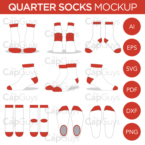 Quarter Socks - Mockup and Template - 11 Angles, Layered, Detailed and Editable Vector in EPS, SVG, AI, PNG, DXF and PDF