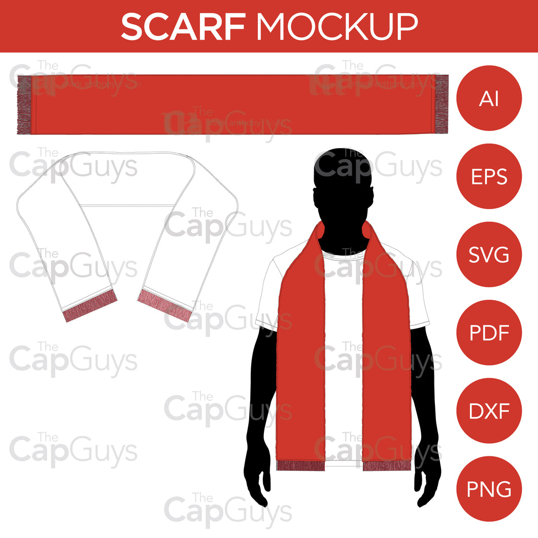 Scarf/Scarves - Mockup and Template - 3 Styles, Layered, Detailed and Editable Vector in EPS, SVG, AI, PNG, DXF and PDF