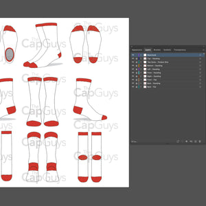 Socks - Mockup and Template - 9 Angles, Layered, Detailed and Editable Vector in EPS, SVG, AI, PNG, DXF and PDF