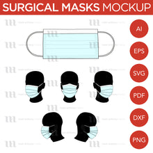 Load image into Gallery viewer, Surgical Masks - Mockup and Template - 6 Angles, 1 Style, Layered, Detailed and Editable Vector in EPS, SVG, AI, PNG, DXF and PDF