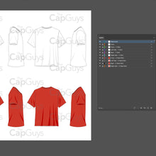 Load image into Gallery viewer, T-Shirts and V-Neck Shirts - Mockup and Template - 8 Angles, 2 Styles, Layered, Detailed and Editable Vector in EPS, SVG, AI, PNG, DXF and PDF