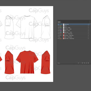 T-Shirts and V-Neck Shirts - Mockup and Template - 8 Angles, 2 Styles, Layered, Detailed and Editable Vector in EPS, SVG, AI, PNG, DXF and PDF