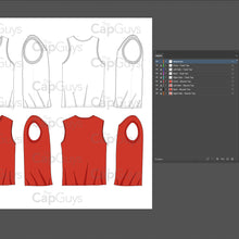 Load image into Gallery viewer, Tank Tops and Muscle Shirt Tops - Mockup and Template - 5 Angles, 1 Styles, Layered, Detailed and Editable Vector in EPS, SVG, AI, PNG, DXF and PDF