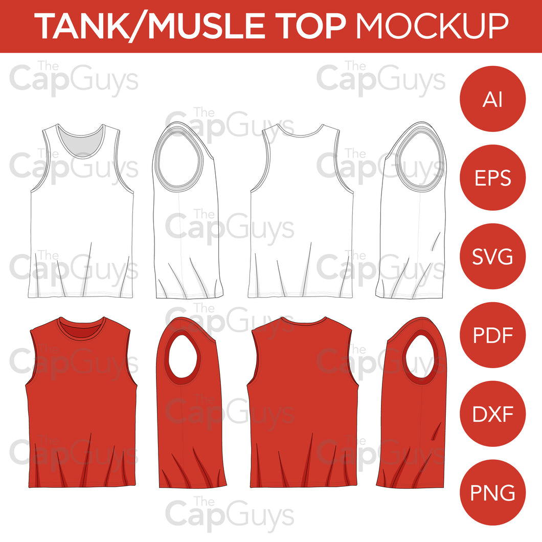 Tank Tops and Muscle Shirt Tops - Mockup and Template - 5 Angles, 1 Styles, Layered, Detailed and Editable Vector in EPS, SVG, AI, PNG, DXF and PDF