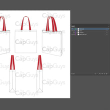 Load image into Gallery viewer, Tote Bag - Mockup and Template - 8 Angles, Layered, Detailed and Editable Vector in EPS, SVG, AI, PNG, DXF and PDF