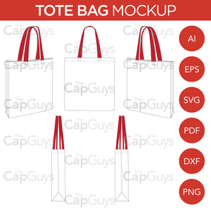 Tote Bag - Mockup and Template - 8 Angles, Layered, Detailed and Editable Vector in EPS, SVG, AI, PNG, DXF and PDF
