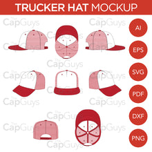 Load image into Gallery viewer, Trucker Hat - Mockup and Template - 8 Angles, Layered, Detailed and Editable Vector in EPS, SVG, AI, PNG, DXF and PDF