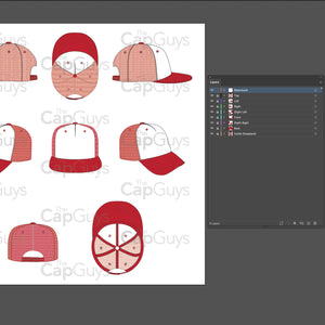 Trucker Hat - Mockup and Template - 8 Angles, Layered, Detailed and Editable Vector in EPS, SVG, AI, PNG, DXF and PDF