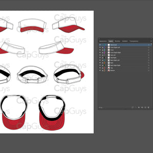 Visor Sports Hat - Golf, Tennis, Volleyball Template - 10 Angles, Layered, Detailed and Editable Vector Mock Up Template