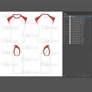 Raglan Women's Cap Sleeve/Sleeveless Shirt - Mockup and Template - 4 Angles, 1 Style, Layered, Detailed and Editable Vector in EPS, SVG, AI, PNG, DXF and PDF