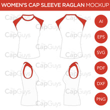 Load image into Gallery viewer, Raglan Women's Cap Sleeve/Sleeveless Shirt - Mockup and Template - 4 Angles, 1 Style, Layered, Detailed and Editable Vector in EPS, SVG, AI, PNG, DXF and PDF