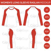 Load image into Gallery viewer, Raglan Women's Long Sleeve Shirt - Mockup and Template - 4 Angles, 1 Style, Layered, Detailed and Editable Vector in EPS, SVG, AI, PNG, DXF and PDF