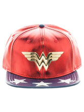 Load image into Gallery viewer, Bioworld Red/Blue Licensed Wonder Woman PU Leather Suit Up Star Brim Snapback Hat