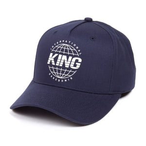 King Apparel Bethnal Curved Peak Blue Ink Snapback Hat
