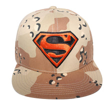 Load image into Gallery viewer, Concept One Licensed Superman Desert Camouflage With Orange Logo Snapback Hat