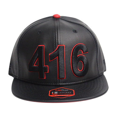 416 Toronto - The Cap Guys TCG / Inspired Exclusives PU Black/Red Strapback Cap