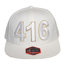 Load image into Gallery viewer, 416 Toronto - The Cap Guys TCG / Inspired Exclusives White/Gold Snapback Cap