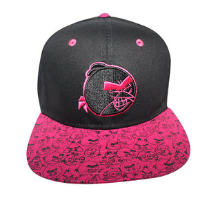 Concept One Black/Pink Licensed Angry Birds Sublimated Brim Snapback Hat