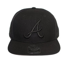 Load image into Gallery viewer, 47 Brand Black Atlanta Braves Sure Shot 47 Captain Cap