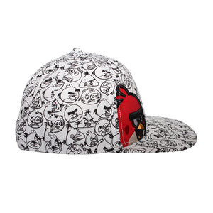 Concept One Licensed Angry Birds - All Over Print White/Black Snapback Hat