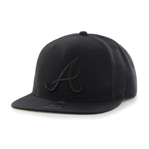 47 Brand Black Atlanta Braves Sure Shot 47 Captain Cap