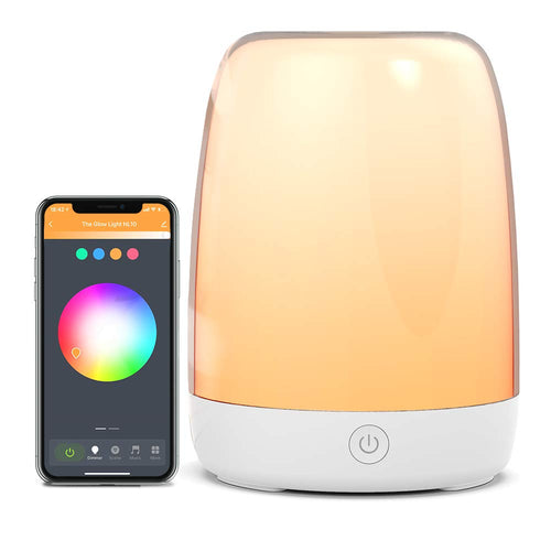 Smart night light treatment living desk lamp, suitable for bedroom, used in conjunction with Alexa and Google Assistant, automated schedule, APP control touch light adjustable light and color change RGB