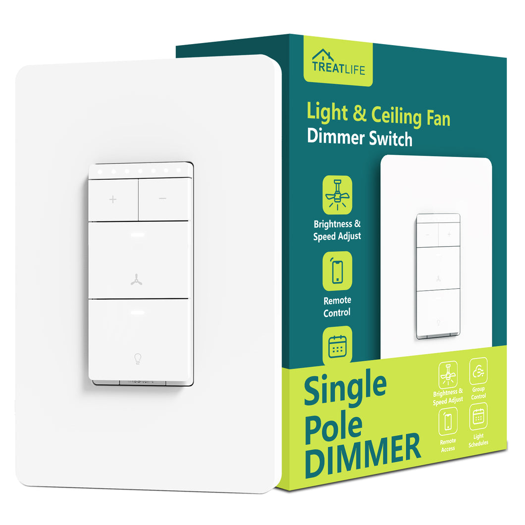 Treatlife Smart Ceiling Fan Control and Light Dimmer Switch,Works with Alexa Google Assistant
