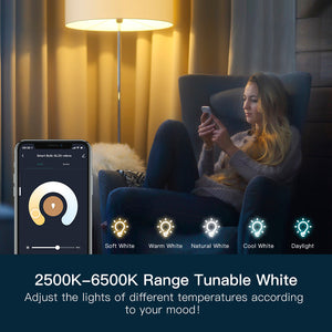 TreatLife Smart Tunable White Bulb,1500k-9000k,Work with Alexa,Google Assistant,8W 850Lumens