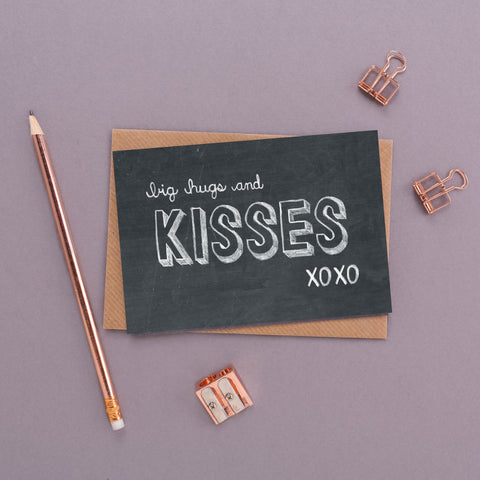 Big Hugs and Kisses Chalkboard Card