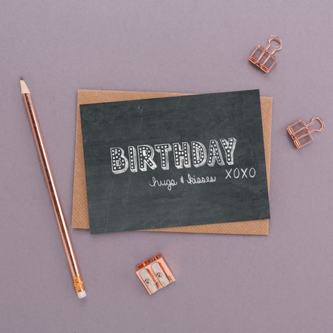 Birthday Hugs & Kisses Name in Lights Chalkboard Card