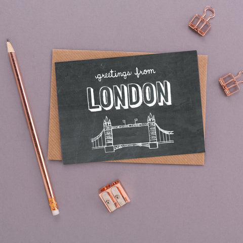 Greetings from London Chalkboard Card