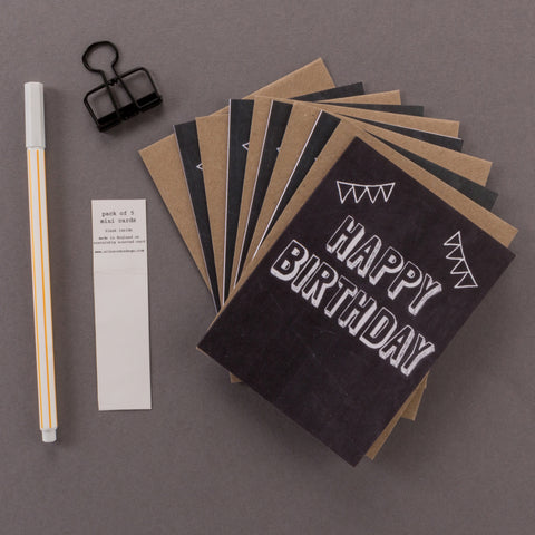 'Happy Birthday' Mini Chalkboard Birthday Cards Pack of 5