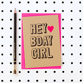 Hey Bday Girl Kraft Card