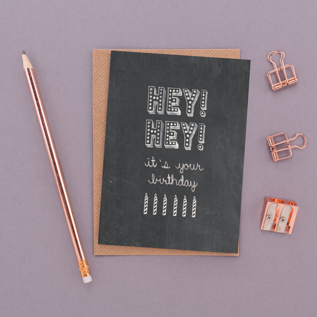 Hey! Hey! It's Your Birthday Name in Lights Chalkboard Card