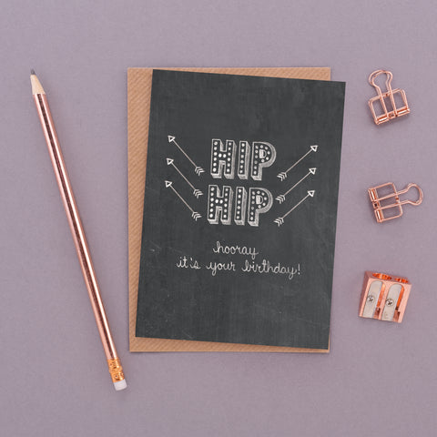 Hip Hip Hooray It's Your Birthday! Name in Lights Chalkboard Card