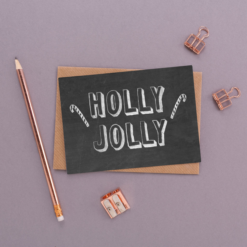 Holly Jolly Chalkboard Card