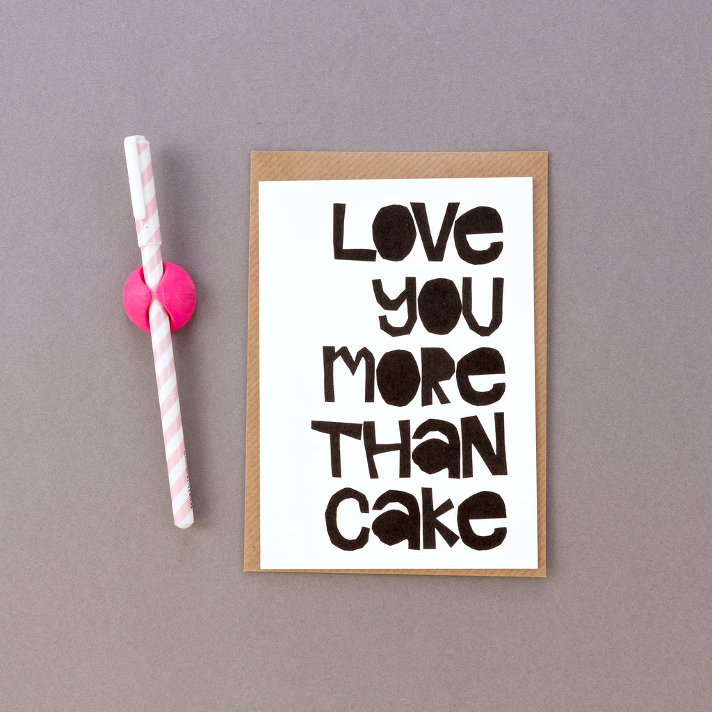 Love You More Than Cake Papercut Card