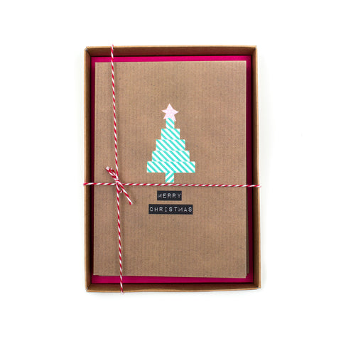 Merry Christmas (Tree) Washi Tape Christmas Card Box