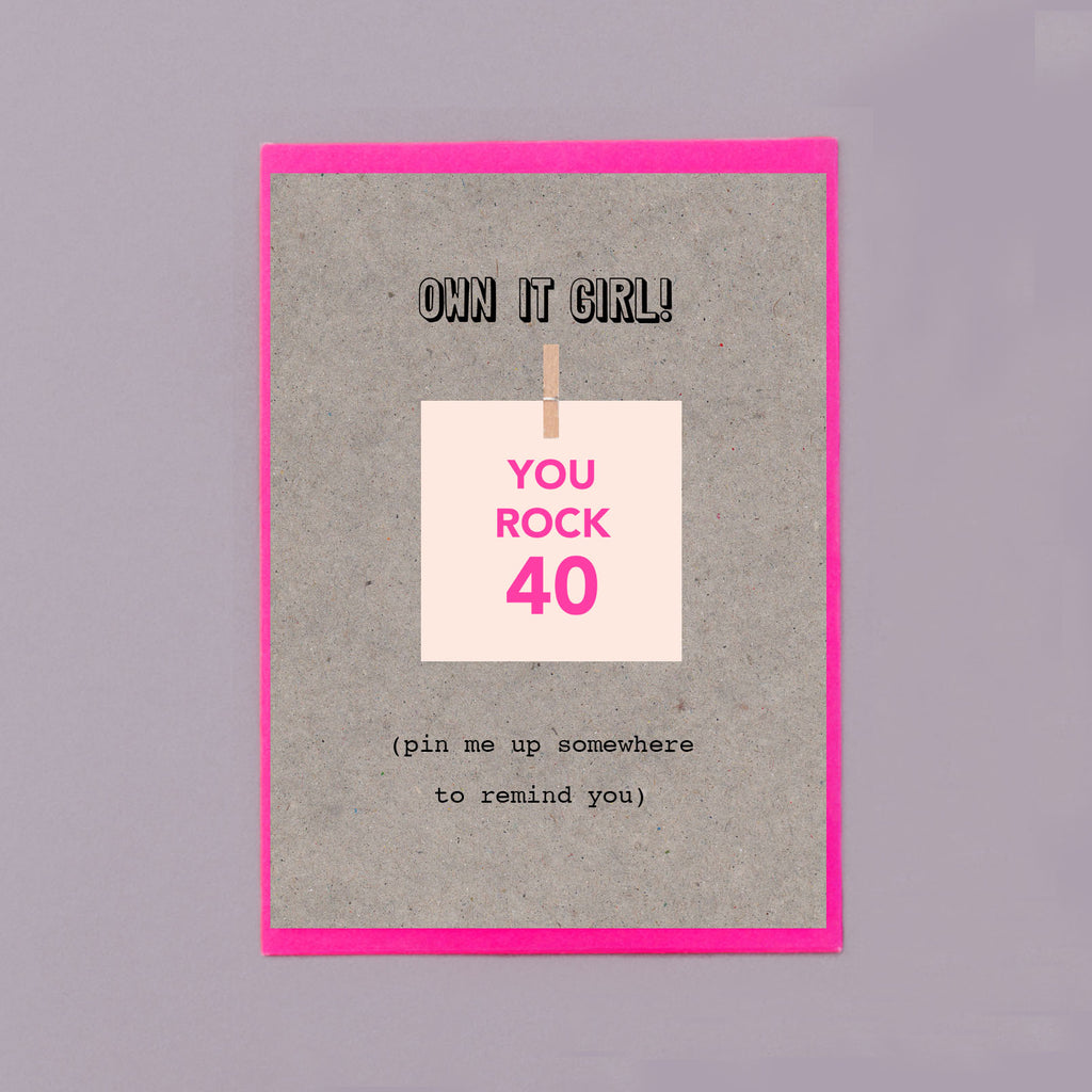 You Rock 40 Pin Me Up 40th Birthday Card