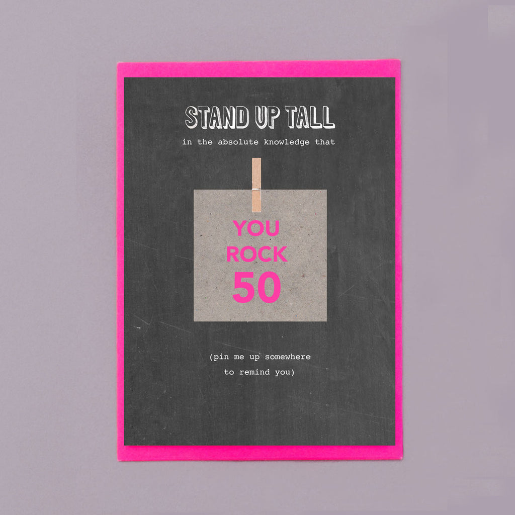 You Rock 50 Pin Me Up 50th Birthday Card