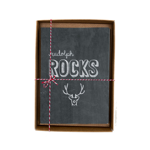 Rudolph Rocks Chalkboard Christmas Card Box