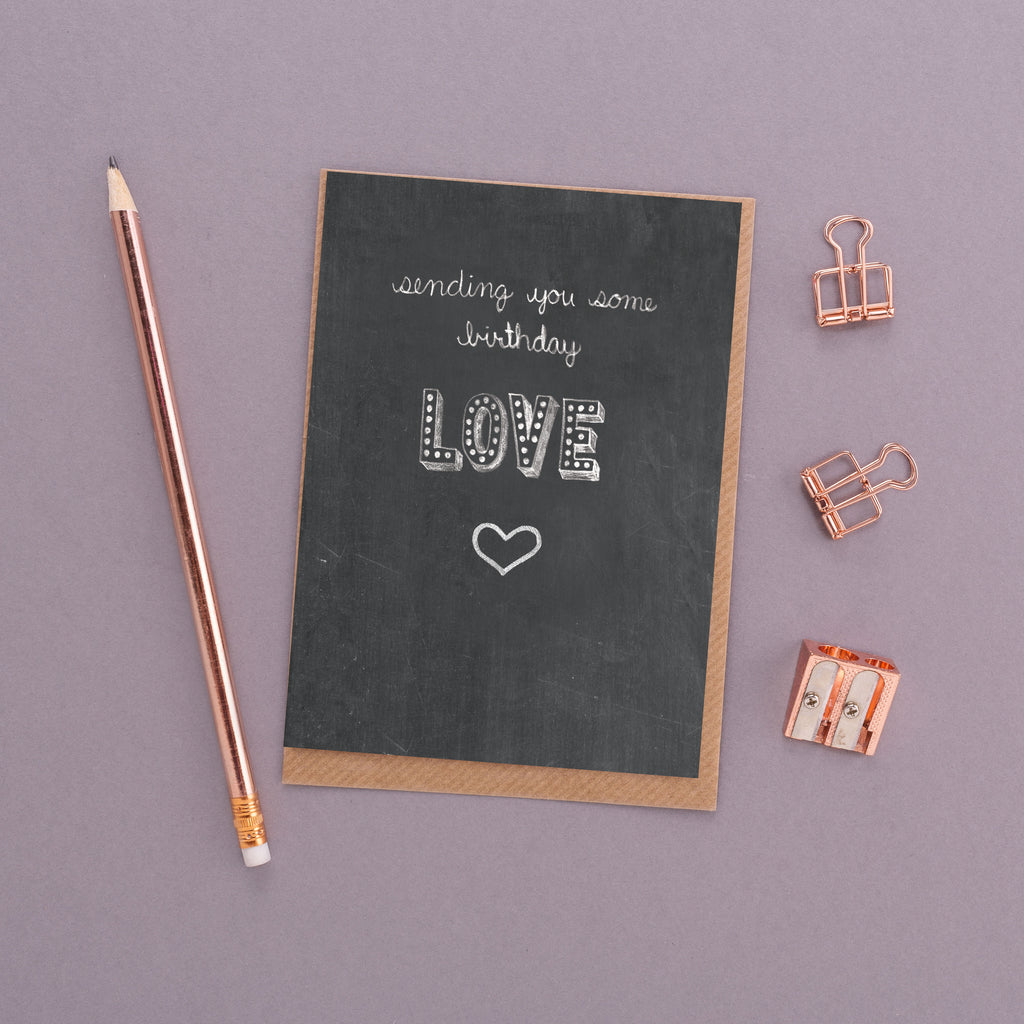 Sending You Some Birthday Love Name in Lights Chalkboard Card