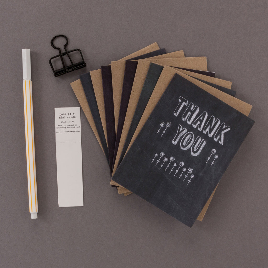 'Thank You' Mini Chalkboard Thank You Cards Pack of 5