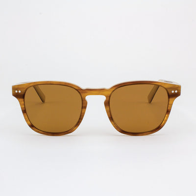 Pinecrest Havana cream and gold strips acetate & wood sunglasses
