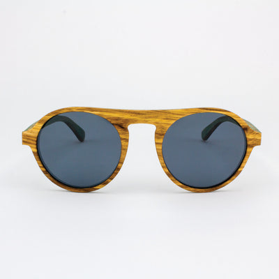 Round zebrawood wood sunglasses