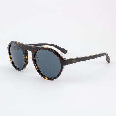 Round tortoise shell acetate & wood sunglasses with ebony wood temples