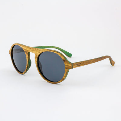 Round zebrawood wood sunglasses with green wood interior