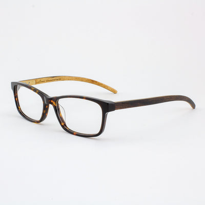 Island Skye tortoise shell acetate and wood eyeglasses with ebony temples